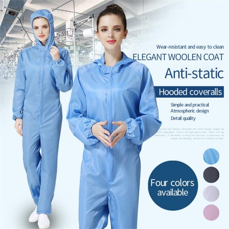 Workshop Uniforms Hooded Antistatic Dustproof Long Sleeve Coats Pants Zipper Tops Jumpsuits Clothing Darily Worker Overalls