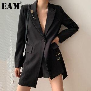 Женский блейзер EAM, черный свободный блейзер с длинным рукавом и отложным воротником, весенне-Осенняя мода 2020 1W483