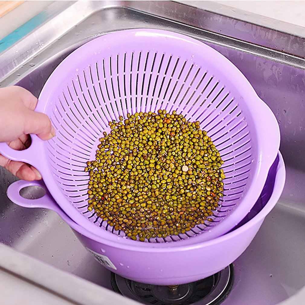 Doppio Strato Drenante Basket Creativo Rotondo Cucina Colino di Lavaggio Multifunzione Staffa per Frutta Verdura Macchina di Pulizia