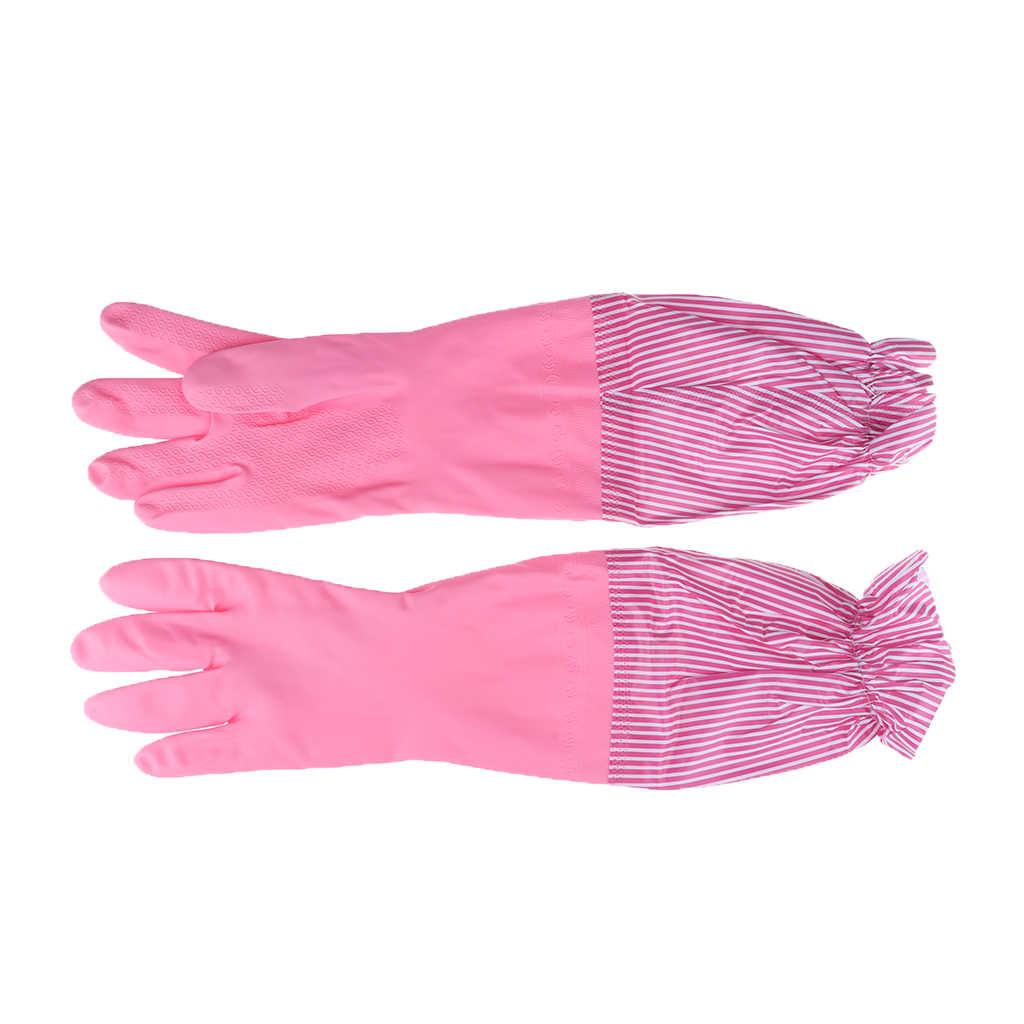 Herbruikbare Waterdicht Huishouden Latex Schoonmaak Handschoenen, Lange Manchet, Keuken Handschoenen, 19 inches Lange