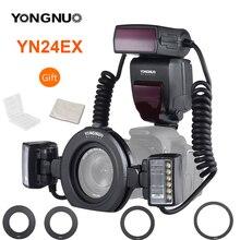 YONGNUO YN24EX YN24 EX Macro Ring Flash E TTL Flash Speedlite mit 2 stücke Flash Köpfe 4 stücke Adapter Ringe für canon EOS Kameras 5D3