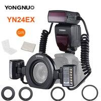 YONGNUO-Anillo de Flash E-TTL YN24EX EX, Flash Speedlite con 2 uds. De cabezas de Flash, 4 Uds. De anillos adaptadores para cámaras Canon EOS 5D3