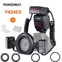 YONGNUO YN24EX YN24 EX Macro Ring Flash E TTL Flash Speedlite with 2pcs Flash Heads 4pcs Adapter Rings for Canon EOS Cameras 5D3