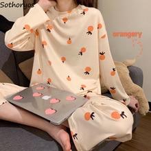 Womens Sleepwear Pajama-Sets Loose Elegant Korean-Style Plus-Size Kawaii Print Trendy