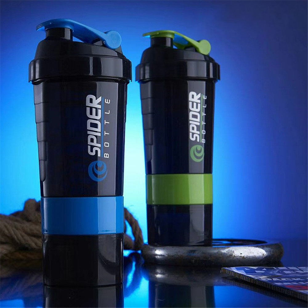 Protein Powder Shaker Bottle Sports Fitness Mixing Whey Protein Water Bottle With Three-layer Portable Gym Powerful Leakproof image