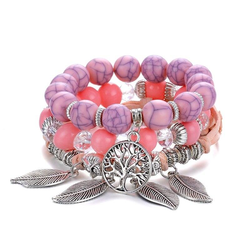 Классический Набор браслетов «Древо жизни» для женщин, многослойный винтажный браслет из натурального камня в виде листьев, браслеты и браслеты, ювелирные изделия, подарки - Окраска металла: S358-5