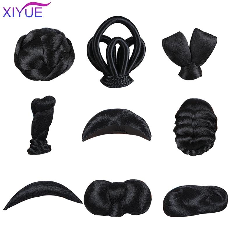 Винтажный женский парик, старинный парик, антикварный модельный парик с накладками и цветами, посылка, Длинные косички, прямые волосы, отпра...