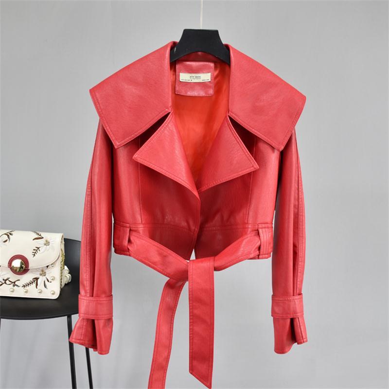 Rouge nouveau manteau en cuir section courte 2020 printemps et automne grand revers tempérament lâche à manches longues ourlet ceinture en cuir veste marée