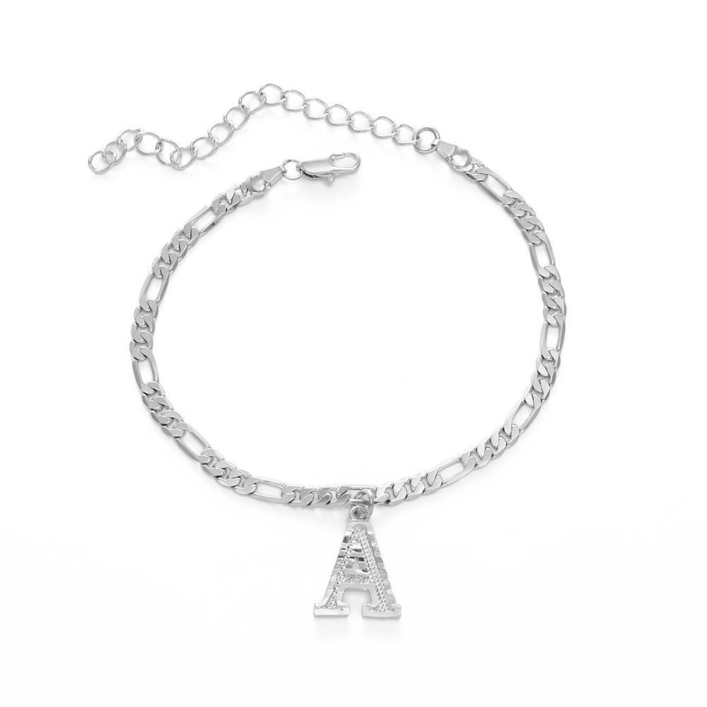 Anniyo 21cm+10cm Extender Chain/A-Z Initial Silver Color Letter Anklet Women Alphabet Jewelry Foot Chain Figaro Chains #233806B