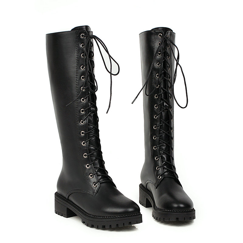 Lace Up Fashion Knee High Boots Women Autumn Winter Low Heel Long Boots Round Toe Woman Boots 2019 New Female Shoes Black White