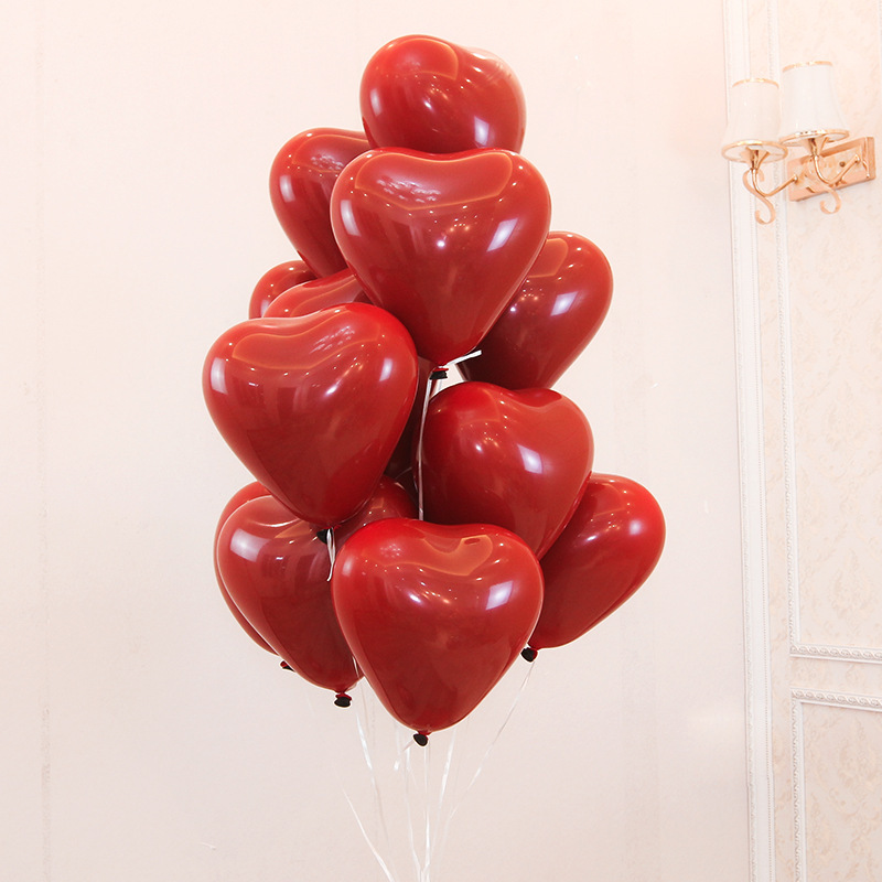 10/20/30pcs 10 Inch Matt Heart Shaped Pomegranate Red Latex Balloon Birthday Party Wedding Holiday Decoration Baby Shower Ballon