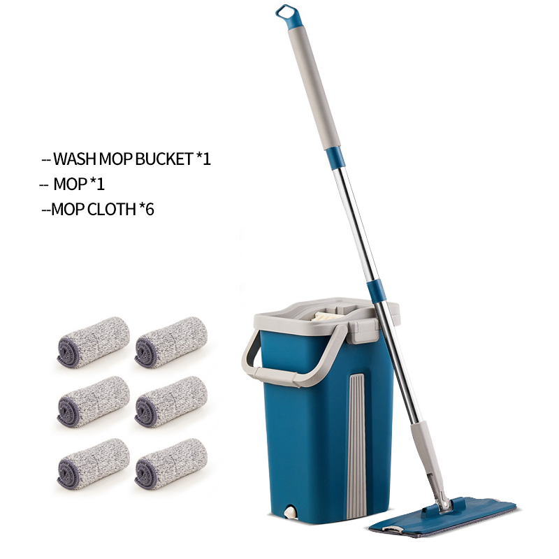 Mop Bucket Lazy-Fellow Super-Fiber Floor Wooden Cleaning Automatic with Plane Dual-Purpose-Mop