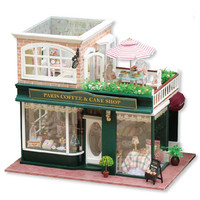 Handmade Coffee & Cake Shop Doll House Furniture Miniature DIY Dollhouse Wooden Toys Children Assembly Large LED Light Handcraft
