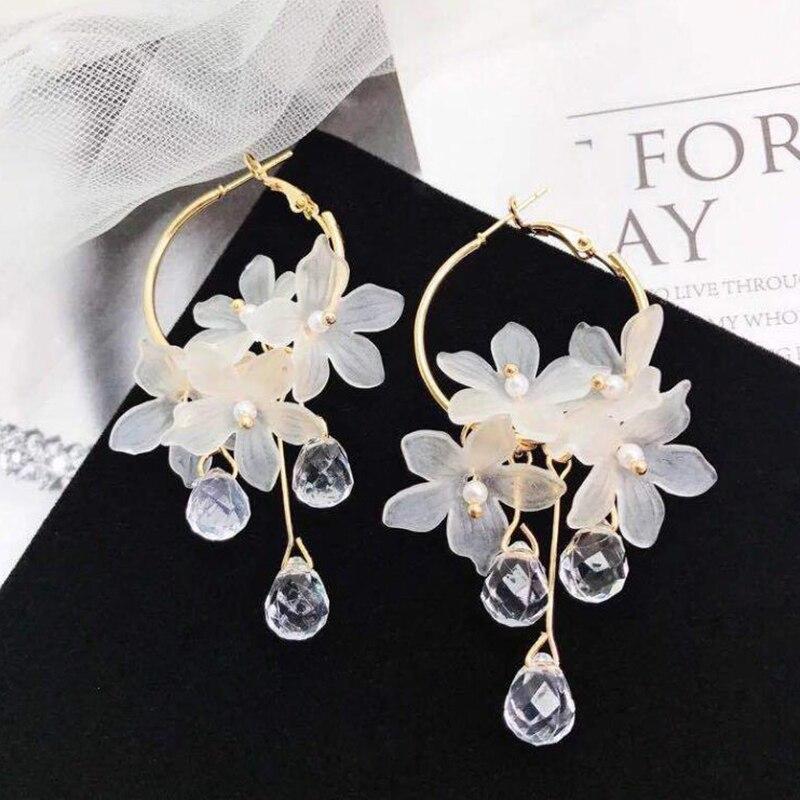 Tassel Earrings 2020 Trendy Acrylic Water Drop Women Dangle Earrings Crystal Flower Long Pendant Earrings For Women jewelry