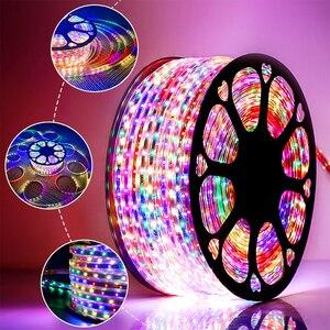 SMD2835 Водонепроницаемый светодиодный светильник 220 В многоцветный 1 м/5 м/10 м/15 м/20 м/25 м/30 м Декоративная наружная садовая Светодиодная лента с ...