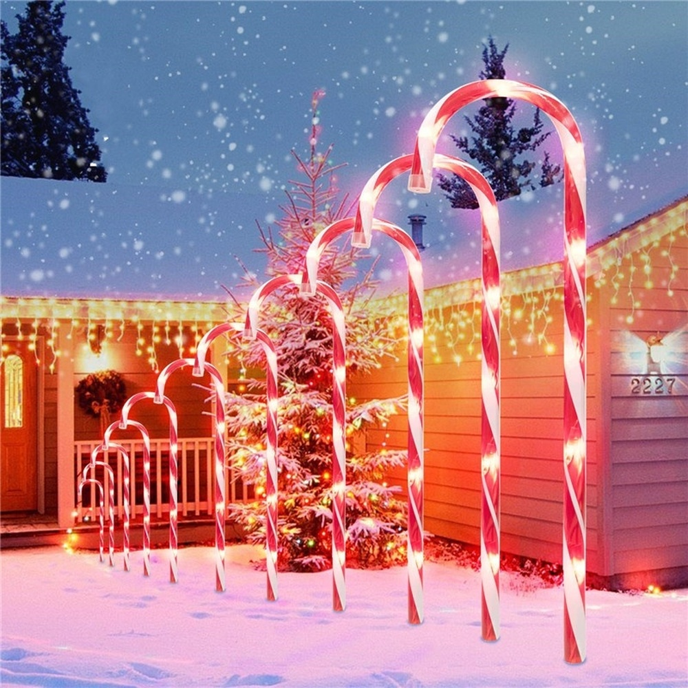 10 Pcs Christmas Light Pathway Candy Cane Walkway Light Usb Powered Street Lamp Outdoor Garden Yard New Year's Decoration Lamp