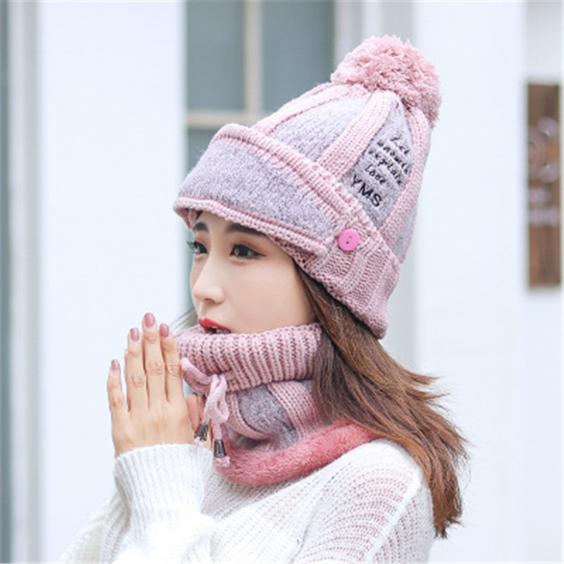 2019 Wool Knitted Thick Winter Pompom Skullie Beanie Ring Mask Sets Women Cap Hat Scarf Neck Ear Warm Fashion Accessories-CGC-W7