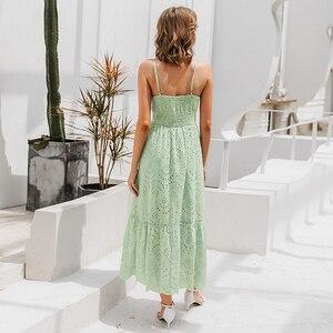 Image 3 - Simplee zarif kayış uzun yaz elbisesi kadın V boyun düğmesi seksi dantel elbise kadın rahat beyaz maxi elbise festa vestidos 2019