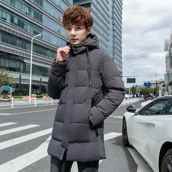 Winter New Coat Men's Warm Thick Fashion Solid Color Casual Hooded Coat Man Streetwear Wild Loose Cotton Long Jacket Parka Men