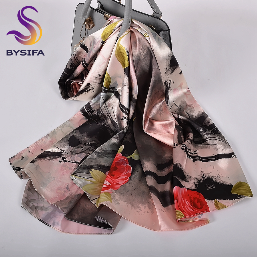 [BYSIFA] Grey Pink Women Long <font><b>Silk</b></font> <font><b>Scarf</b></font> Shawl Fashion Brand Satin <font><b>Scarves</b></font> Printed Spring Fall Chinese Roses Head Scarf160*<font><b>70cm</b></font> image