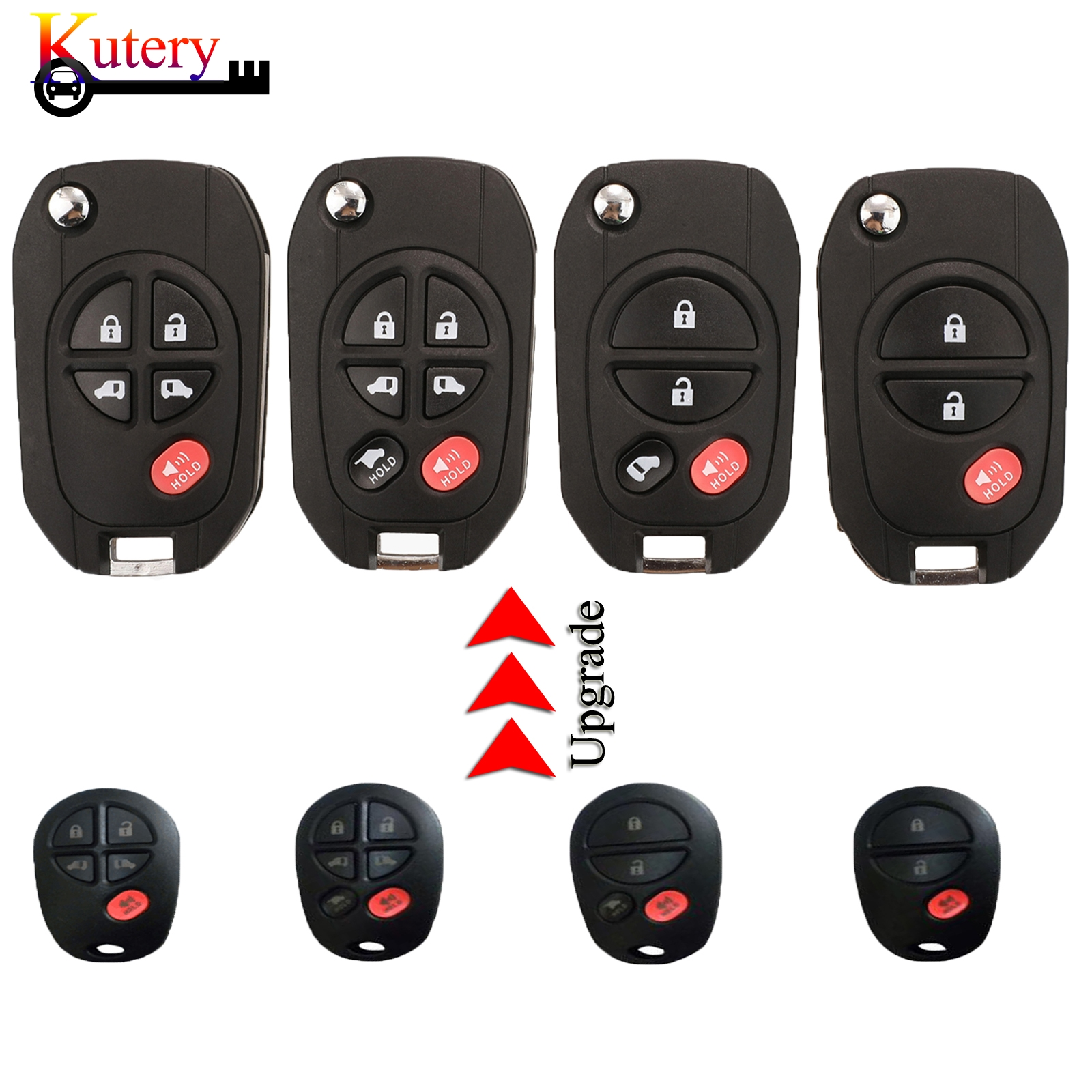 Kutery Remote Control Key Fob Shell Case Fob For Toyota Sequoia Highlander Sienna Tacoma Tundra 3/4/5/6 Buttons