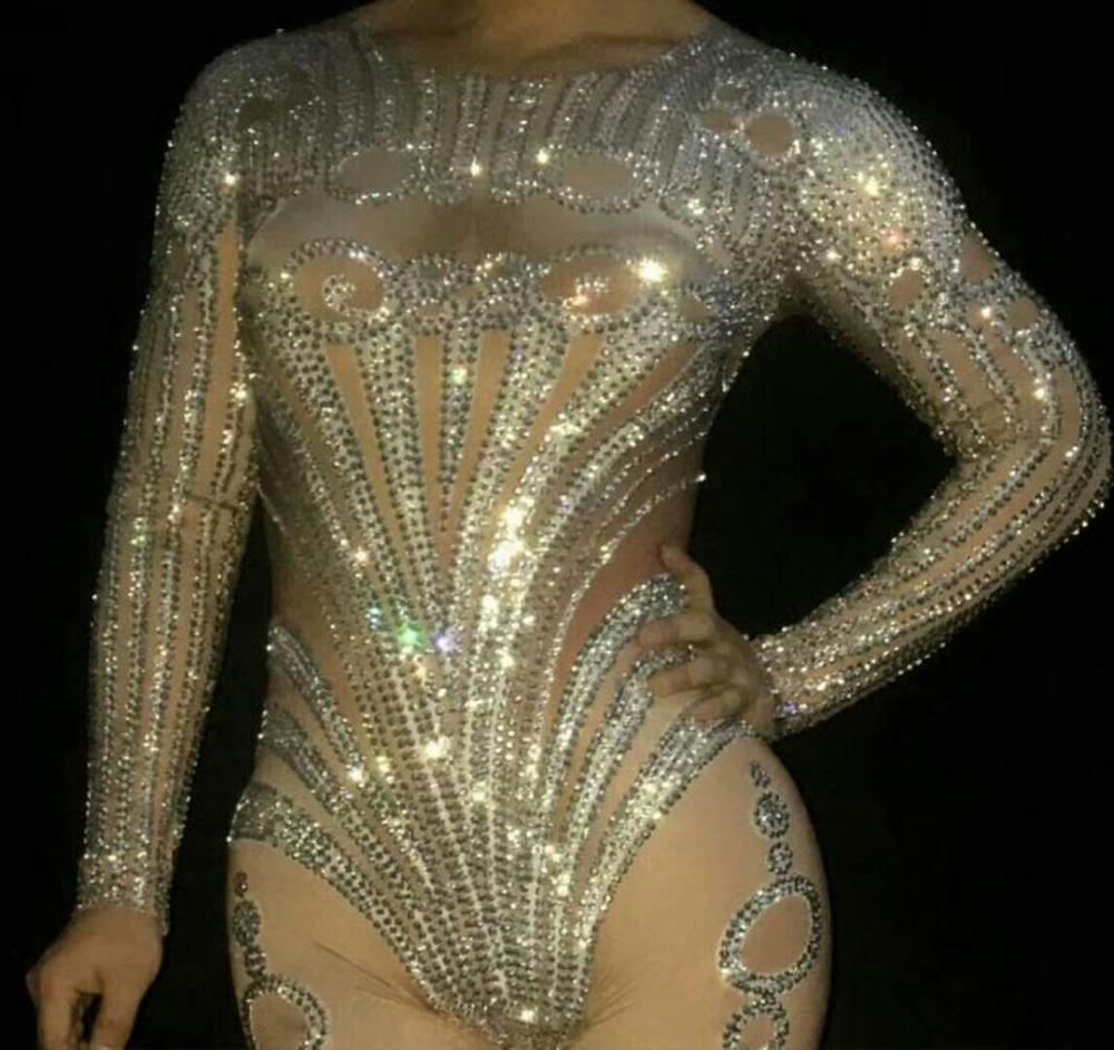 Женские бриллианты украшают Комбинезоны женские модные стрейч обтягивающие трико Ночной клуб Танцы у шеста костюмы сексуальный стиль Одежда - 4