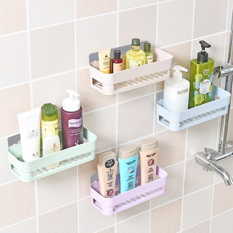 Bathroom Storage Shower Organizer Shampoo Shelf Holder Plastic Wall Mounted Rack