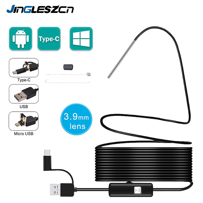 3 9MM 3 in 1 Android Endoscope Camera IP67 Waterproof Snake Camera with 6 Led Lights for Samsung Huawei  LG Xiaomi PC
