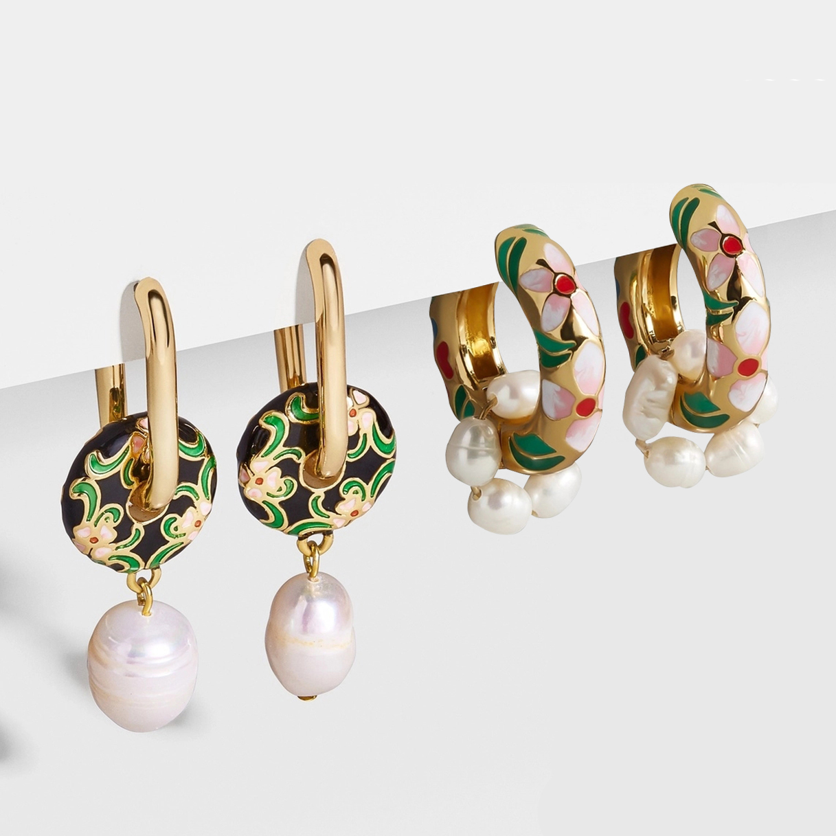 Vintage Circle Geometric Flower Huggie Drop Earrings for Women Bohemian Round Pearl Statement Drop Earrings Party Enamel Jewelry