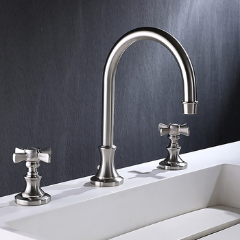 3 Holes 2 Lever Handles Widespread Bathroom Faucet Kitchen Toilet Hot Cold Water Brass Faucet фото