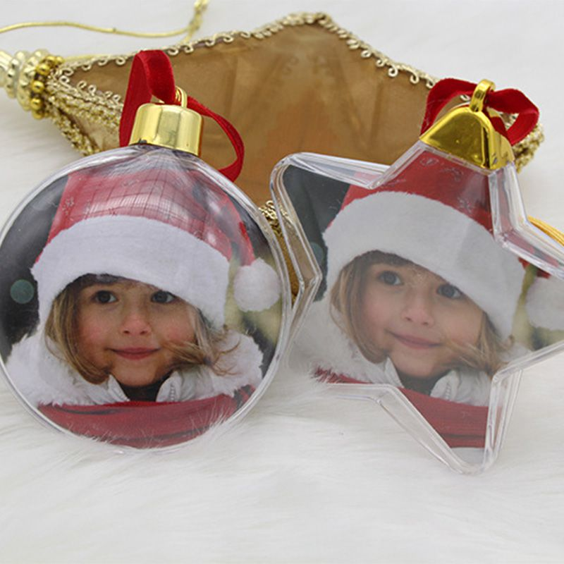 New Christmas Transparent Photo Frame Five-star Ball Christmas Decorations Xmas Tree Hanging Decor For Home Diy Party Kids Gifts