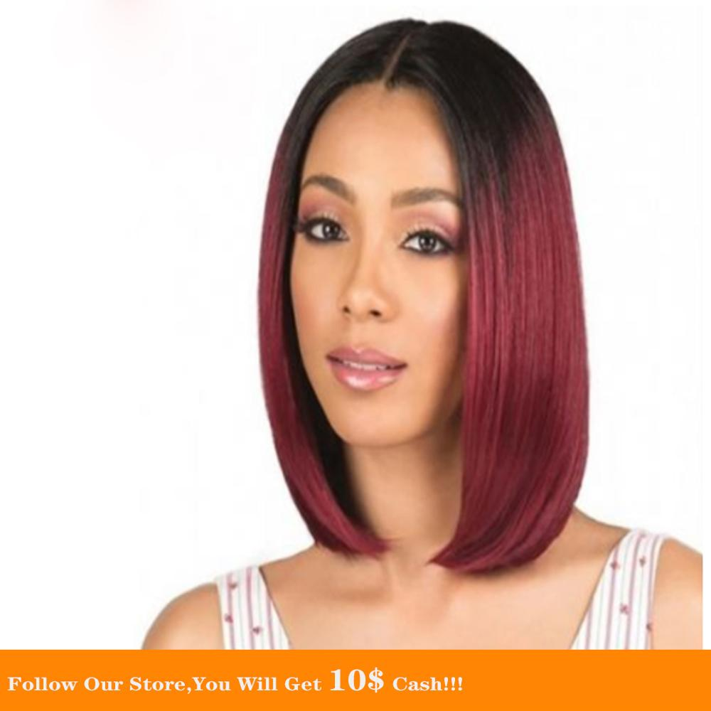 Silky Straight Short Bob Lace Front Human Hair Lace Front Wigs For Women 13x6 Deep Middle Part 1B99J Lace Front Wig Ombre Wine