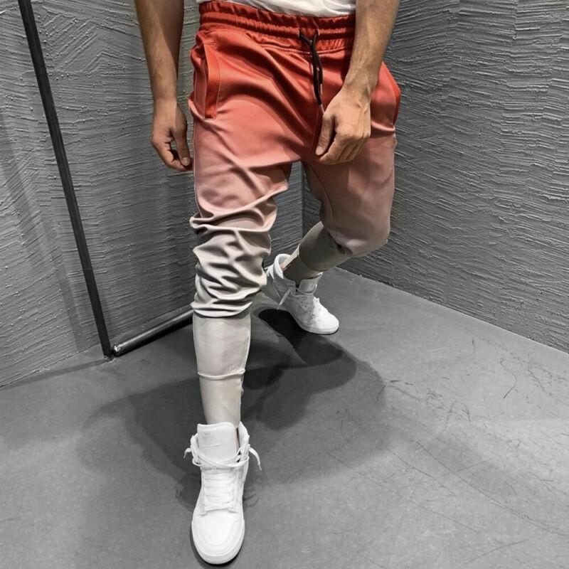 HOT Men Gradient Long Sweatpants 2019 Autumn Male Vogue Elastic Waist Drawstring Slim Fitness Pants Streetwear Pockets Trousers
