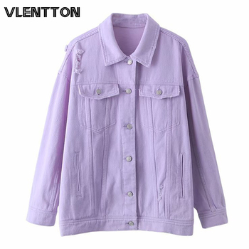 2020 Spring Autumn Purple Oversize Denim Jacket Women Solid Hole Casual Loose Jeans Jackets Coat Female Outwear Tops Veste Femme 1