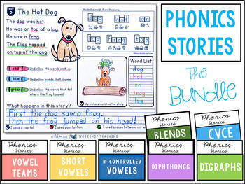 Phonics Stories Reading and Writing BUNDLE learning English Short Stories, Homeschool PDF electronic file - discount item  8% OFF Learning & Education