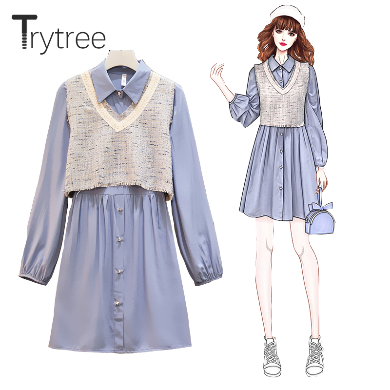 Trytree 2020 Spring Autumn Women Two Piece Set Casual V-neck Vest Top + Dress Single Breasted A-line Blouse Dress 2 Piece Set