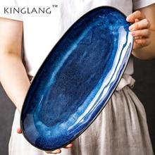 KINGLANG Japanese Kiln Glazed Blue Long Plate Household Steamed Fish Plate Large Dish Color Creative Sushi Plate