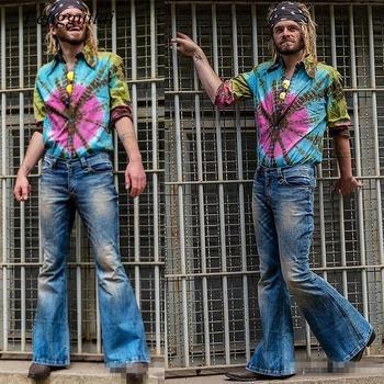 Pantalones Vaqueros acampanados a la moda para Hombre, pantalones Vaqueros de pierna...