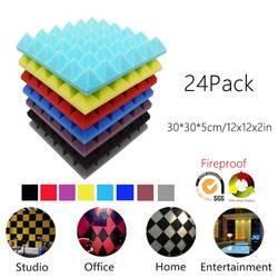 (Paquete de 24) Pyramid acústico espuma estudio tratamientos de sonido absorción de sonido paneles de insonorización aislamiento de sonido azulejos 12x12x2 in