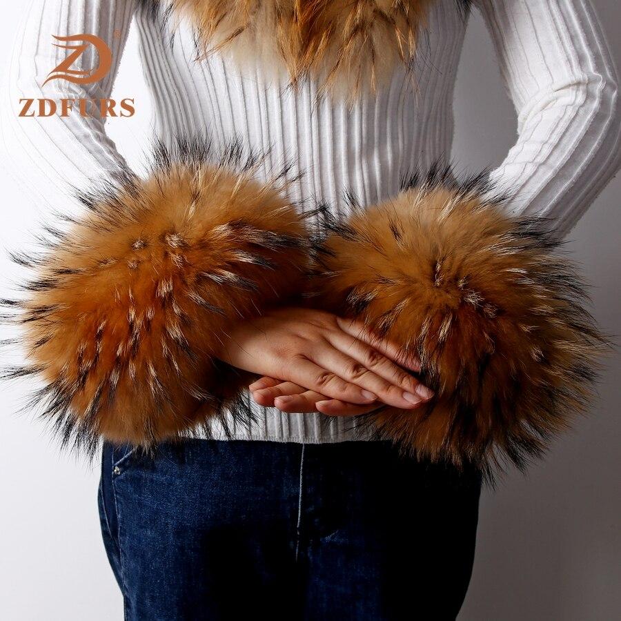 ZDFURS * High Quality Fox Fur Cuffs Hot Sale Wrist Warmer Genuine Fox Fur Cuff Arm Warmer Lady Bracelet Real Fur Wristband Glove