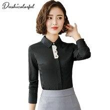 Dushicolorful blouse women clothes elegant long sleeve shirt autumn white black slim blusas office ladies business plus size top