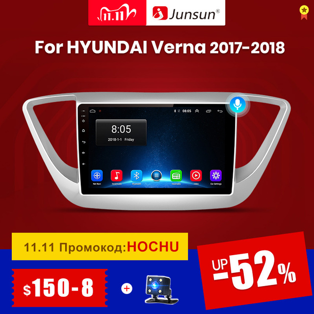 Junsun V1 2G + 32G Android 10 4G Auto Radio Multimedia audio Player GPS Navigation Für Hyundai solaris 2 Verna 2017 2018 keine 2 din