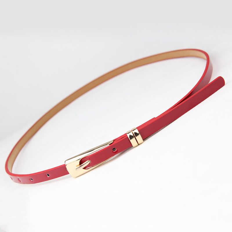 Novo 8 cores fino couro do plutônio cinto feminino vermelho marrom preto branco amarelo cinto de cintura para mulheres vestido cinta atacado
