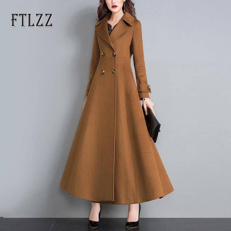 Spring Autumn Long Wool Coat Women Slim A-line Turndown Collar Korean Coat Ladies Plus Size Woolen Coats Female Outerwear Casaco