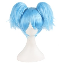 """MapofBeauty 12"""" Sky Blue green Short straight Wigs two shape Claw ponytail cosplay wig Heat Resistant Synthetic hair"""
