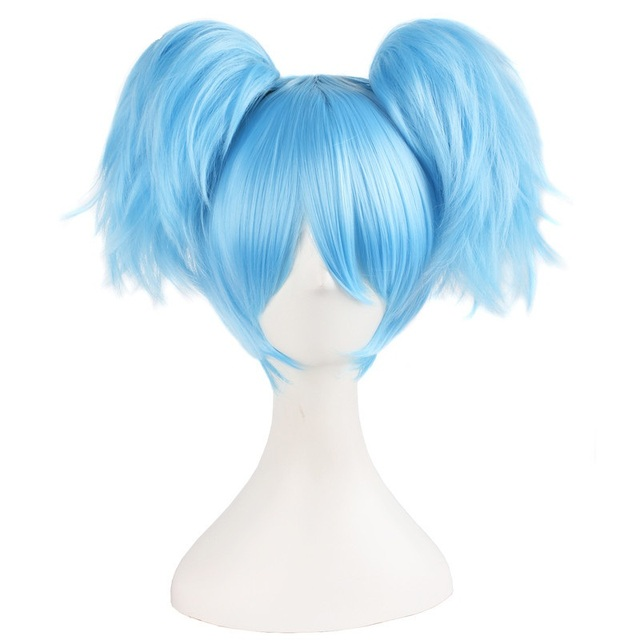 """MapofBeauty 12 """"gökyüzü mavi yeşil kısa düz peruk iki şekli pençe at kuyruğu cosplay peruk isıya dayanıklı sentetik saç"""