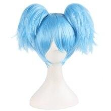"""MapofBeauty 12 """"niebieska zielona krótka peruki z prostymi włosami dwa kształty pazur kucyk peruka do cosplay żaroodporne włosy syntetyczne"""