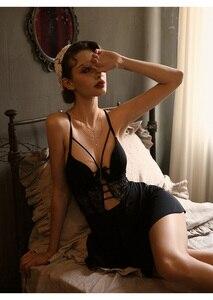 Image 3 - Sexy Nachtwäsche Weiblichen Sommer Dünne Bügel Cup Bh Eis Seide Hause Kleid mit Schöne Zurück Strumpf Sleep