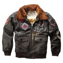 Super Offer! US big size air force G1 pilot warm fur collar leather jacket genui