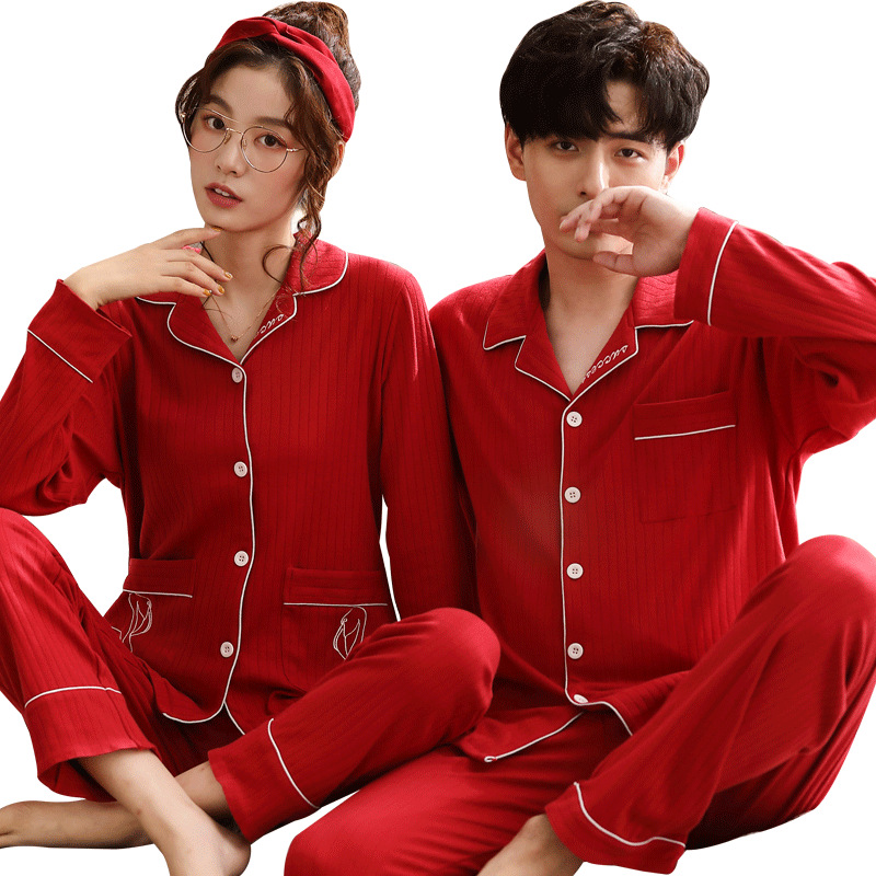 The New Cotton Couple Red Home Wear Suit Men's Pajamas Women